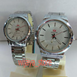 Harga Swiss Time Army Jam Tangan Couple Stainless Steel S21813 Silver Fullset Murah