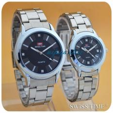 Swiss Time/Army - Jam Tangan Couple Stainless Steel ST234 Silver Hitam