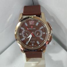 Swiss Time/Army Jam Tangan Pria -Rubber Strap ST3000