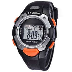 Jual Synoke Jam Tangan Anak Hitam Orange Rubber Strap Digital Fashion Kids Watch Ori