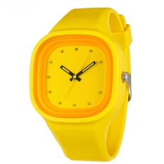 Synoke Siswa Jam Tangan Olahraga Jelly Tahan Air QUARTZ Watch (Kuning)-Intl