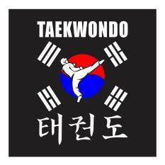 Taekwondo Round House Kick With Korean Flag Cutting Sticker