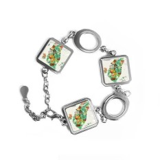 Taiwan Foods Map China Honey Coffee Square Shape Metal Bracelet Love Gifts Jewelry With Chain Decoration - intl