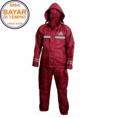 Takachi Jas Hujan 2 Rangkap Raincoat Original Bahan Tebal Seperti Axio - Merah Marun - Size M
