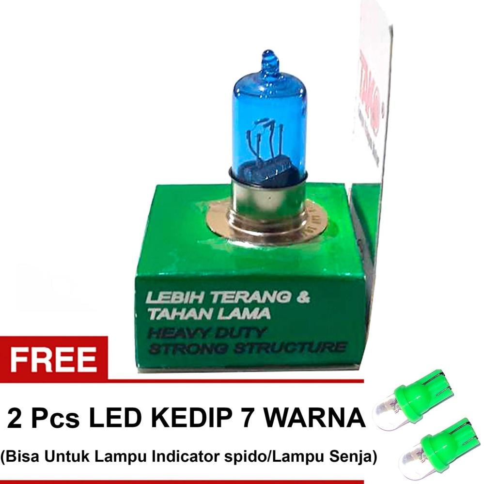 Tako Bohlam Halogen H6 18W/18W Tipe Tako Blue + Gratis 2 Pcs LED Lampu