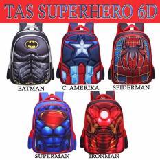 Tas Anak Sekolah Ransel Superhero 6d SPIDERMAN, BATMAN, IRONMAN, SUPERMAN, C.AMERICA