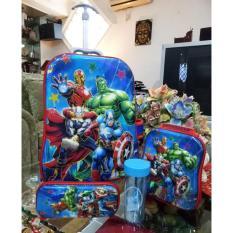 Tas Anak Sekolah Trolley Anak SD Avengers 6D Timbul 4In1 Set 6 Roda Import