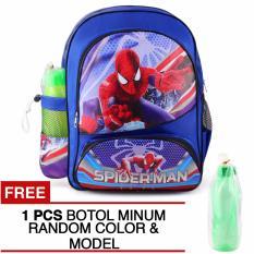 Jual Tas Ransel Anak Amazing Spider Man The American Flag Sch**l Bag Tas Sekolah Anak Blue Free Botol Minum Baru