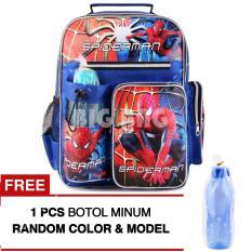 Tas Ransel Anak - Spider-Man - Great Power - School Bag Tas Sekolah Anak - BLUE + FREE Botol Minum Tas Anak Tas Sekolah Tas Anak Karakter