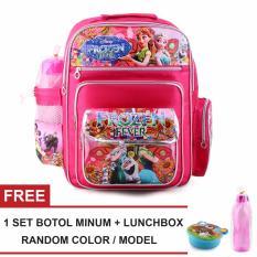 Jual Tas Ransel Anak Frozen Fever Wonderland Sch**L Bag Tas Sekolah Anak Pink Free 1 Set Botol Minum Lunchbox Original