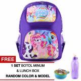 Dapatkan Segera Tas Ransel Anak My Little Pony Cutie Mark Purple Sch**L Bag Tas Sekolah Anak Raincover Free 1 Set Botol Minum Lunch Box Random Model Color