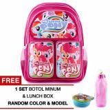 Cuci Gudang Tas Ransel Anak My Little Pony Happy Girls Pink Sch**L Bag Tas Sekolah Anak Free 1 Set Botol Minum Lunchbox