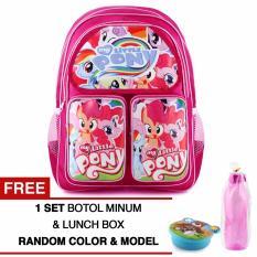 Harga Tas Ransel Anak My Little Pony Happy Girls Pink Sch**l Bag Tas Sekolah Anak Free 1 Set Botol Minum Lunchbox Terbaru