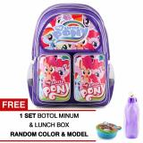 Diskon Besartas Ransel Anak My Little Pony Happy Girls Purple Sch**L Bag Tas Sekolah Anak Free 1 Set Botol Minum Lunchbox