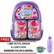 Jual Tas Ransel Anak My Little Pony Happy Girls Purple Sch**L Bag Tas Sekolah Anak Free 1 Set Botol Minum Lunchbox Antik