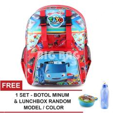 Toko Tas Ransel Anak Tayo The Little Bus Holiday Get Lost Red Sch**l Bag Tas Sekolah Anak Free 1 Set Botol Minum Lunch Box Random Model Color Lengkap