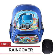 Tas Ransel Anak Tayo The Little Bus - School Day School Bag Tas Sekolah Anak - Blue + FREE Raincover