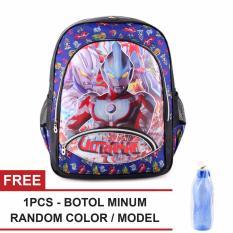 Tas Ransel Anak - Ultramen - Cosmic Rays - School Bag Tas Sekolah Anak - BLUE + FREE Botol Minum  Random Color / Model
