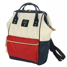 Tas Ransel Anello Handle Oxford Cloth Backpack Campus Rucksack - White/Red