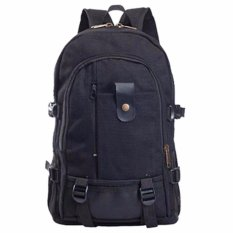 Tas Ransel Casual Canvas Shoulder Travel Bag Backpack Laptop Notebook Kuliah HM-104 Men Fashion Kasual Sekolah Kerja Tas Bahu Carrier Bag Travelling Outdoor Space Luas Backpacker Bags Ada Tali Pengunci Zip Resleting Material Fabric K023 - Black