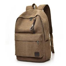 Beli Tas Ransel Pria Wanita Backpack Tas Punggung Kanvas Kuliah Kerja Bc Hb Brown Lengkap