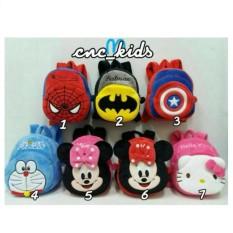 Tas Ransel / Punggung / Backpack Anak Boneka Karakter Spiderman batman cap america doraemon minnie