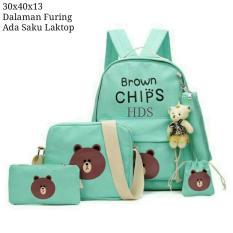Tas Ransel Set 4 In 1 Backpack Sekolah Tas Beranak Motif Brown Chip Original