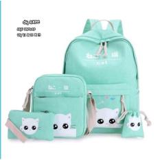 Spesifikasi Tas Ransel Set 4 In 1 Backpack Sekolah Tas Beranak Motif Cats Yg Baik