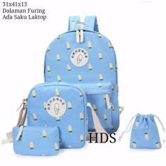 Spesifikasi Tas Ransel Set 4 In 1 Backpack Sekolah Tas Beranak Motif Ice Creem Beserta Harganya