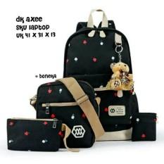 Spesifikasi Tas Ransel Set 4 In 1 Backpack Sekolah Tas Beranak Motif Tulip Dan Harga