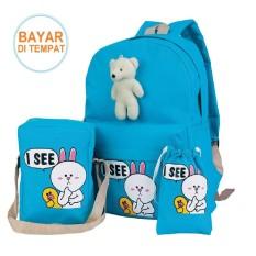 Tas Sekolah SD Anak Perempuan Backpack Ransel Bear Biru Line Cony Biru 3in1
