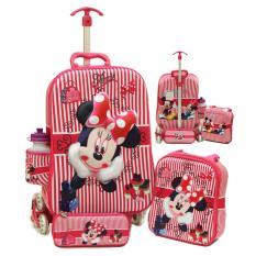 Tas Trolley Anak Minnie Mouse 3D 4in1 Set 6 Roda Gagang Samurai Pink / Tas Koper Anak Set Murah / Tas Treveling Anak Model Koper Set / Tas PiknikAnak / Kemping / Tas Troli Anak