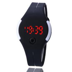 Teiton - Jam Tangan LED Sport Minimalis Bulat Ringan Karet - Hitam Putih