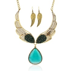Temperament Diamond-encrusted Jewels Sweet Angel Wings Sautoir Green Necklace Suit