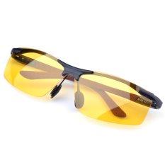 Harga Terpolarisasi Night Vision Goggle Mobil Pria Kacamata Hitam Anti Silau Paduan Bingkai Kacamata Hitam Fullset Murah