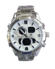 Promo Tetonis Dual Time Ts1003 Jam Tangan Pria Stainless Strap Silver White