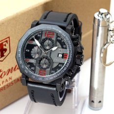 Beli Tetonis Jam Tangan Pria Chronograph Aktif Leather Strap Tn 344 Black Red Baru