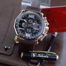 Jual Tetonis Original Ts3433 Gold Jam Tangan Pria Chrono Aktif Leather Strap Coklat Tua Ori