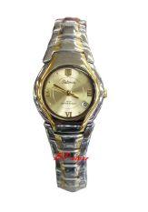 Harga Hemat Tetonis T950L Silver Gold Jam Tangan Wanita Stainless Strap