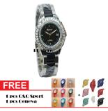 Toko Tetonis T962M Sb Jam Tangan Fashion Wanita Ceramik Stainlesstell Silver Black Online