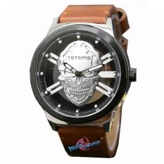 Jual Tetonis Ts6037M Jam Tangan Pria Strap Kulit Coklat Muda Lengkap
