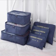 Spesifikasi Tf 6 Pcs Waterproof Tote Multifungsi Bagasi Pakaian Penyimpanan Tas Organizer Set Biru Tua Intl Murah
