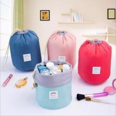 Tf Waterproof Cylinder Cosmetic Bag Nylon Draw String Bag Travel Toiletry Bags Light Blue Intl Murah