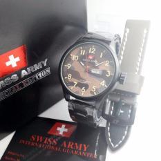 Swiss Army Kasual Jam Tangan Pria Free Box Tali Kulit Terbaru Swiss Army Diskon 30