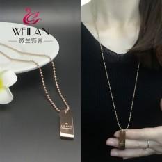 Emas Yang Korea Baja Titanium Panjang Gaya untuk Menggantungkan Rantai untuk Piring 14 K Panjang bentuk Persegi Kartu Berkabung untuk Fall untuk Rice Manik Rantai Pria dan Wanita Pecinta Rambut Panjang Gaun kalung-Internasional