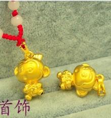 Monyet Kecil Plates dengan Emas Tali Merah Kalung untuk Mourn Liontin Anting-Anting Pria dan Wanita 12 cina Zodiak Signs Awalnya Kehidupan Tahun Pecinta Pergi Bersama dengan Hiasan Anak Kalung-Internasional