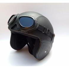 The Musketeer - Helm Klasik Full Synthetic Leather dewasa / Remaja + Kaca Mata - Hitam