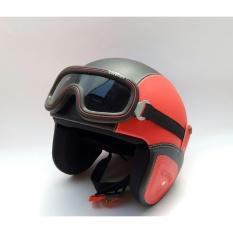 The Musketeer - Helm Klasik Full Synthetic Leather dewasa / Remaja + Kaca Mata -Merah Hitam