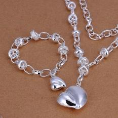Terbaru Hot Sale Pernikahan Fashion 925 Perhiasan Berlapis Perak Set Tangan Jaringan Gelang Kalung Fat Solid Cinta Jantung Kreatif -Intl