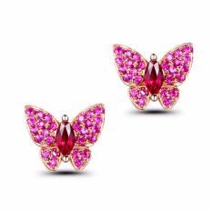 Tiaria 18K Butterfly Ruby Earring Rose Gold Aksesoris Emas Anting